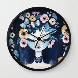 Flower Crown portrait Wall Clock