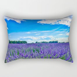 Wildflowers Blooming in a Meadow | Purple Lavender Perennials Deep Blue Sky Spring Landscape France Rectangular Pillow
