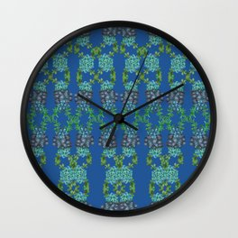 Blue Succulent Double Link Pattern Wall Clock