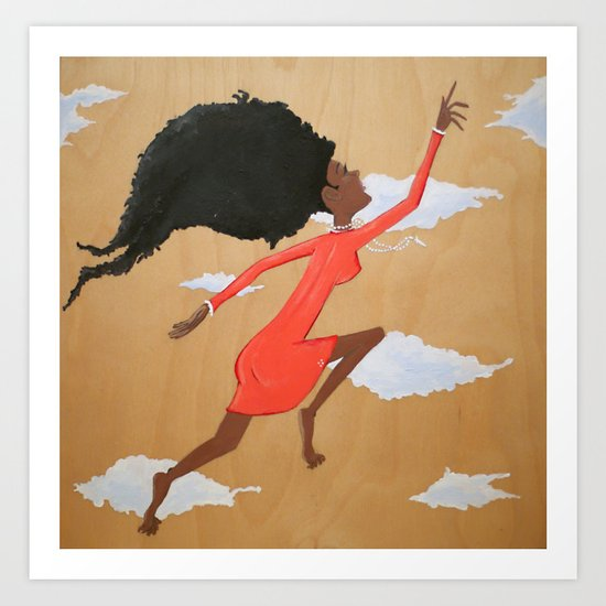 Floating Fro Woman Art Print