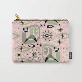 Siamese Cat Abstract on Pink Carry-All Pouch