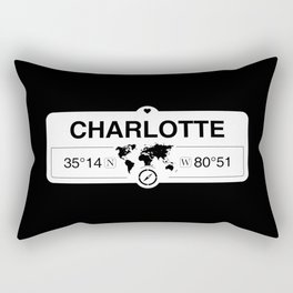 Charlotte North Carolina GPS Coordinates Map Artwork Rectangular Pillow