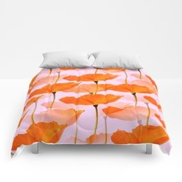 Orange Poppies On A Pink Background #decor #society6 #buyart Comforters