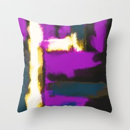 white pink and blue painting texture abstract with black background Throw Pillow