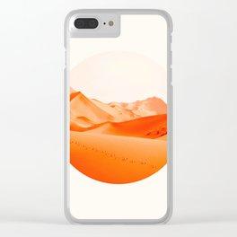 Mid Century Modern Round Circle Photo Vibrant Orange Sand Desert Dunes Clear iPhone Case