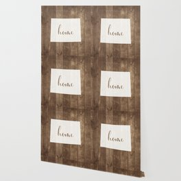 Wyoming is Home - White on Wood Wallpaper