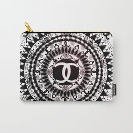 Designer Fashion Black and White Floral High-End Couture Mandala Carry-All Pouch