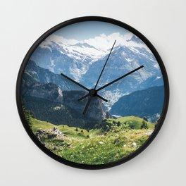 Swiss Alps Summer Landscape Wall Clock