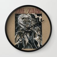 iron maiden Wall Clocks featuring Eddie the Head / Iron Maiden (DRAWLLOWEEN 8/31) by pakowacz