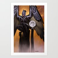 Raven Coveting the Moon Art Print