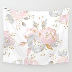 Roses Gold Glitter Pink Wall Tapestry