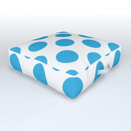 Blue Large Polka Dots Pattern Outdoor Floor Cushion
