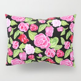 Watercolor Rose Garden black Pillow Sham