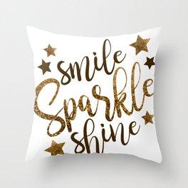smile sparkle shine Throw Pillow