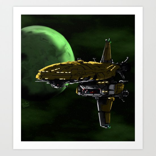 Comman Spaceship in Orbit Art Print