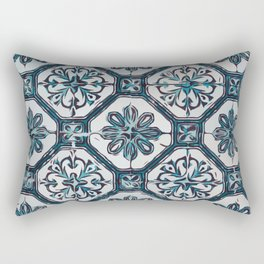 Floral ceramic tile design in blue color #Terrazzo #Blobs Rectangular Pillow