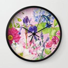 English Garden pink Wall Clock