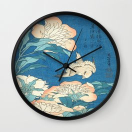 Japanese Flowers Turquoise Peach Wall Clock