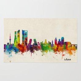 Madrid Skyline Cityscape Watercolor Rug