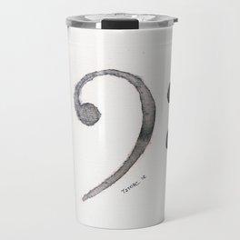 Bass Clef Ink Wash Travel Mug