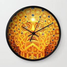 Golden Psychedelic Head Wall Clock