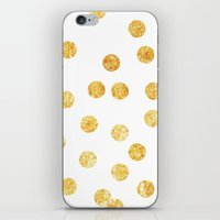 gold dots iPhone & iPod Skins featuring Gold Dots by SPACE317