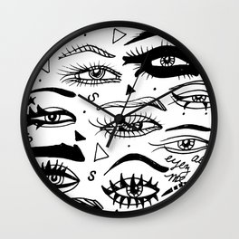 All Eyez on Me- Black and White Ink Drawing Wall Clock