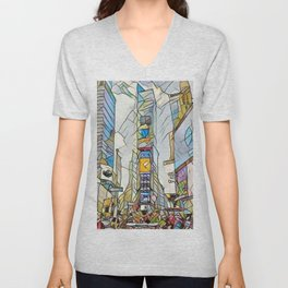 NYC Life in Times Square Unisex V-Neck
