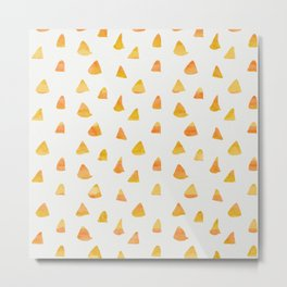 Geometrical orange yellow watercolor hand painted triangles Metal Print