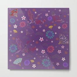 Purple Japanese kimono pattern Metal Print