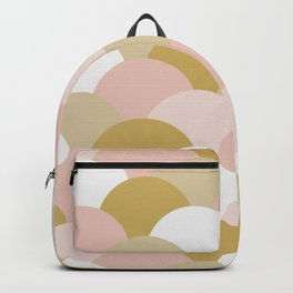 Light Pink and Mustard Yellow Clamshells Backpack