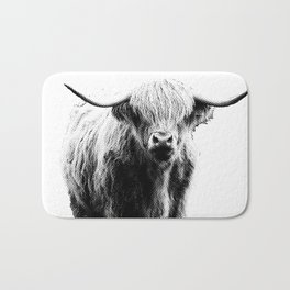 Newspaper Print Style Highland Cow. Scotland, Bull, Horns. Bath Mat