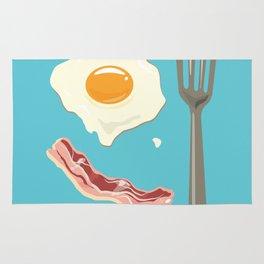 bacon & eggs, blue Rug