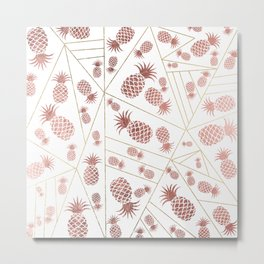 Trendy modern faux rose gold pineapple gold triangles Metal Print