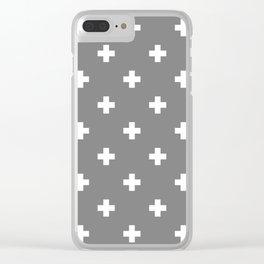 Swiss cross pattern on gray Clear iPhone Case