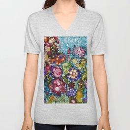 Alcohol Ink Floral Print Unisex V-Neck
