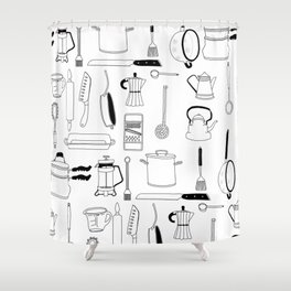 Kitchen essentials in black and white Shower Curtain
