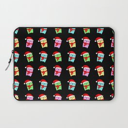 Cute funny Christmas baby bears with a red Santa hat winter pattern Laptop Sleeve