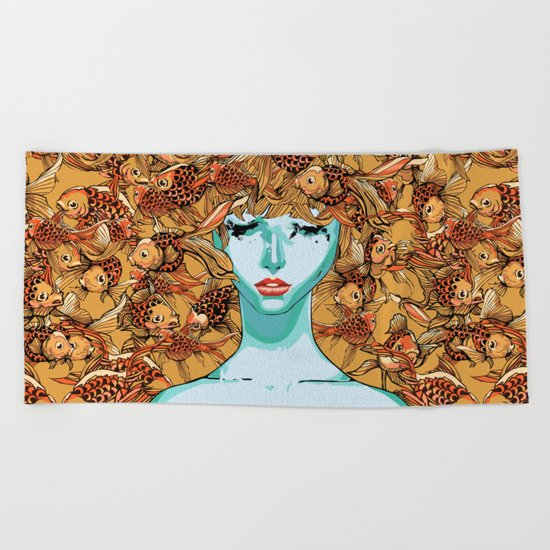 Head up, love Beach Towel