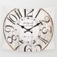 antique Wall Tapestries featuring Antique Clock by Nikki Vancas