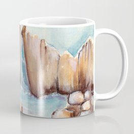 Waterfall and stones in the water by watercolor Coffee Mug