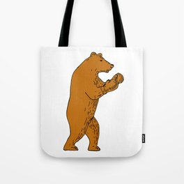Brown Bear Boxing Stance Drawing Tote Bag