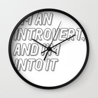 introvert Wall Clocks featuring Introvert by BMaw