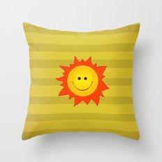 Smiling Happy Sun Throw Pillow