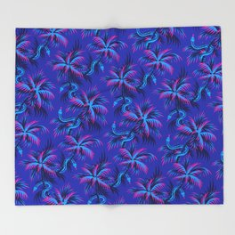 Snake Palms - Blue Pink Throw Blanket