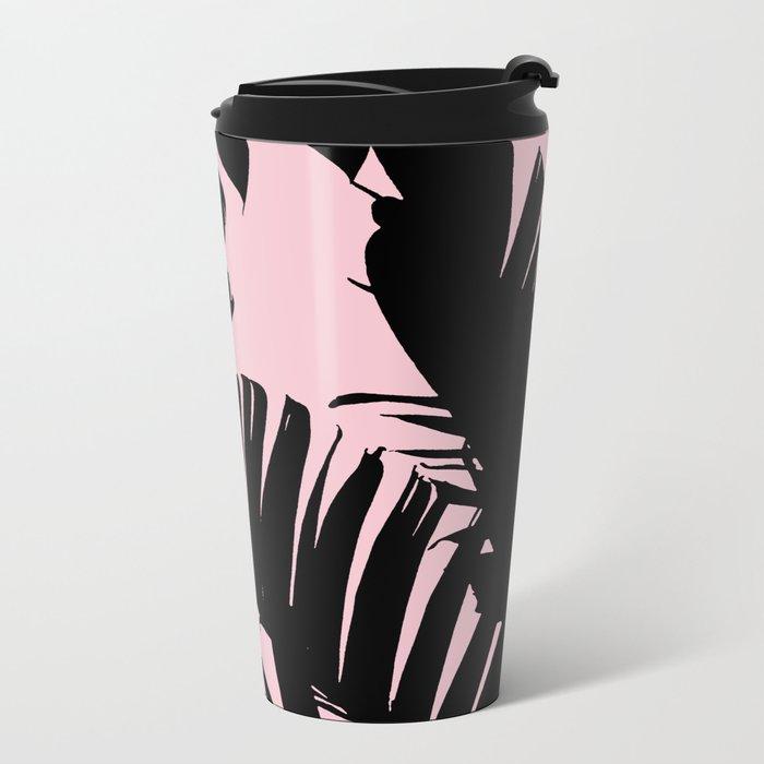 Unique Black and Pink Tropical Banana Leaves Pattern Metal Travel Mug