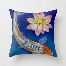 Koi Fish and Lotus Throw Pillow