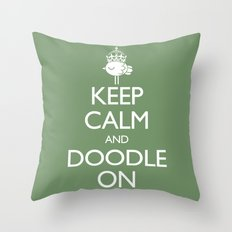 Keep Calm & Doodle On (Green) Throw Pillow