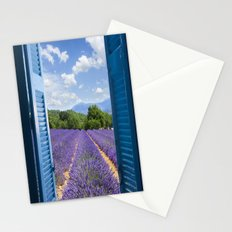 wooden shutters, lavender field Stationery Cards