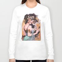 mucha Long Sleeve T-shirts featuring Mucha Inspired Art Nouveau cow skull watercolor by Carla Wyzgala by carlations: Carla Wyzgala illustrations